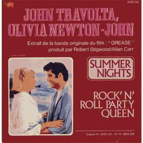 VINYL45T John travolta olivia newton john summers night 1978