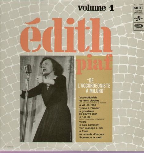 VINYL 33 T Edith piaf vol 1 de l'accordéoniste a milord 1963